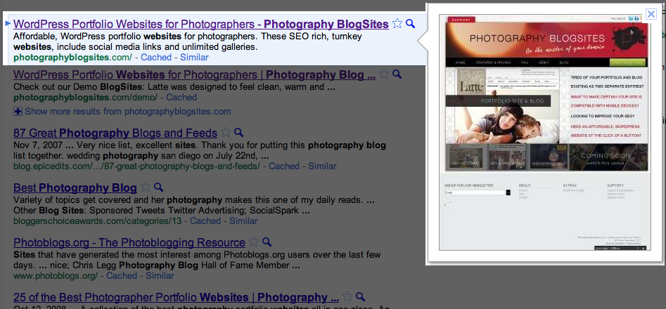 Screen shot 2010 11 10 at 2.41.32 AM Google Instant Preview: Your website is now visible in search results… Or is it?
