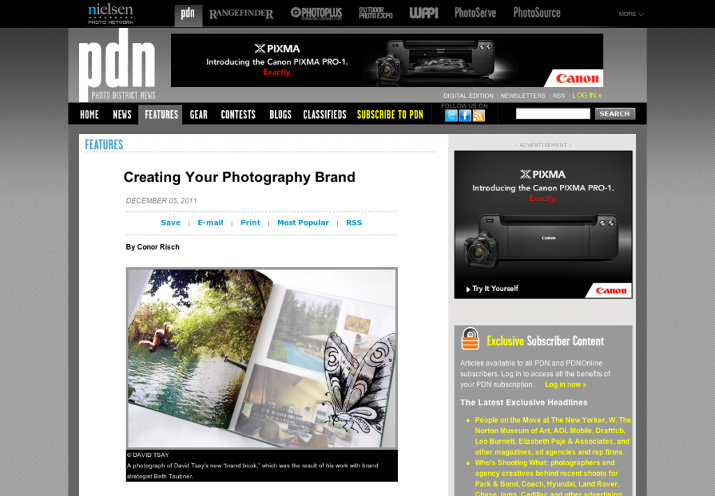 Screen shot 2011 12 05 at 1.57.56 PM 1024x711 Were featured in the PDN article Creating your Photography Brand